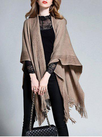 Chic Plus Size Fringed Asymmetrical Shawl