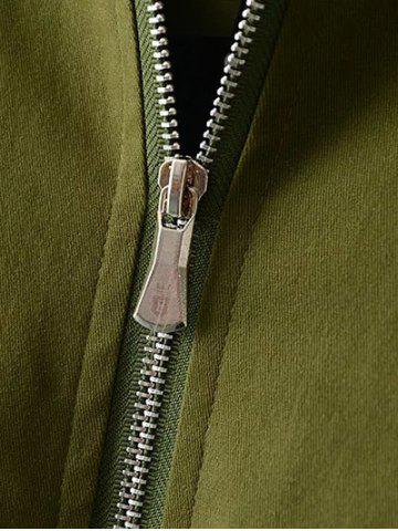 Affordable Plus Size Kitten Applique Zipped Bomber Jacket - 3XL ARMY GREEN Mobile