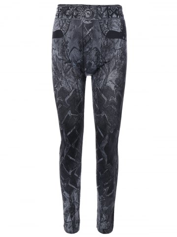 Latest Abstract Print Jeggings - ONE SIZE BLACK Mobile