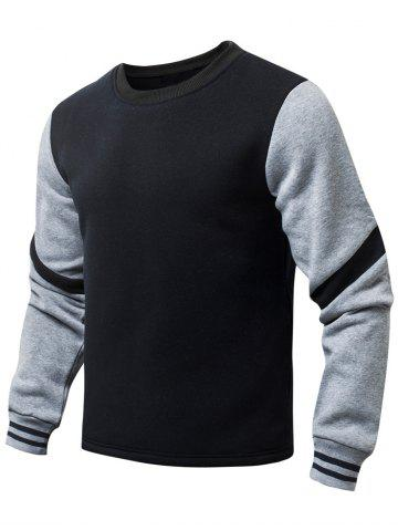 Latest Stripe Pattern Round Collar Fleeces Sweatshirt
