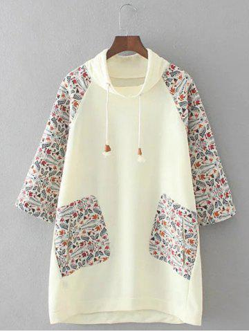 Chic Plus Size Retro Printed Patched Hoodie BEIGE 3XL