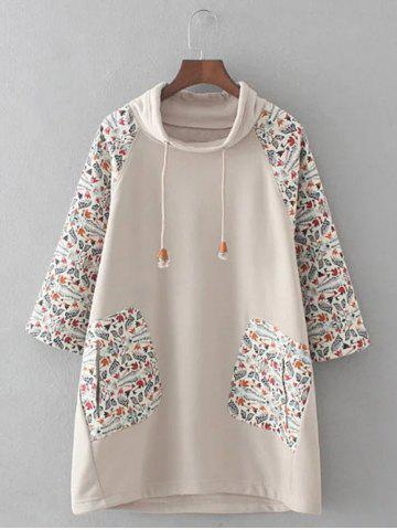 Plus Size Retro Printed Patched Hoodie - Beige Grey - 3xl