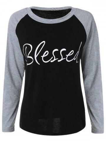 Trendy Raglan Sleeve Blessed Baseball Sweatshirt BLACK XL