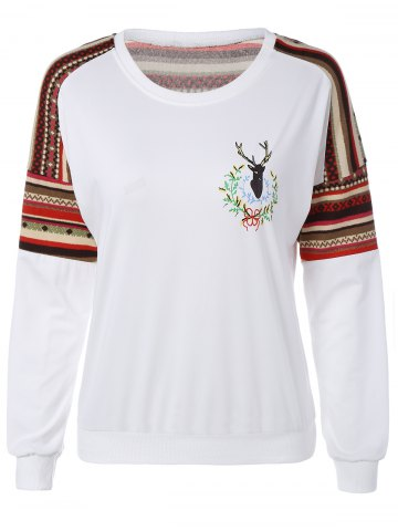 Latest Patchwork Fawn Print Sweatshirt