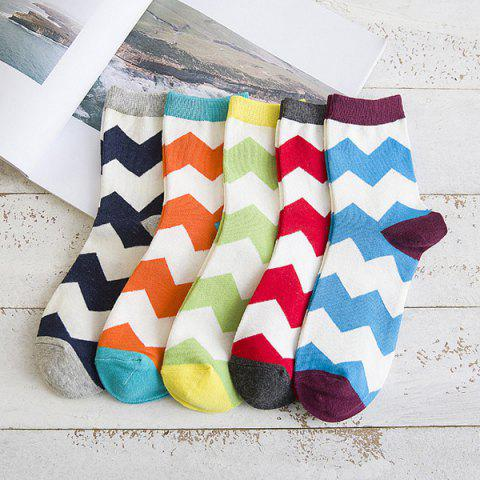 Best One Set Wave Pattern Casual Jacquard Socks - COLORMIX  Mobile
