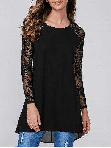 Discount Raglan Sleeve Lace Splicing Blouse