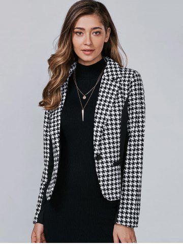 Trendy Houndstooth Pattern One Button Blazer - L BLACK Mobile