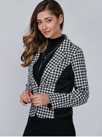 Shop Houndstooth Pattern One Button Blazer - L BLACK Mobile