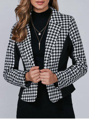 Fancy Houndstooth Pattern One Button Blazer BLACK M