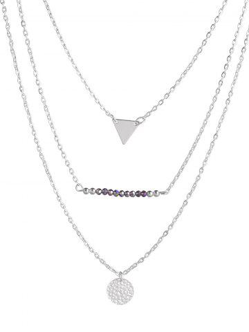 Trendy Triangle Coin Beads Charm Layered Necklace
