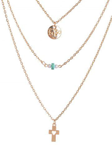 Discount Hollowed Cross Round Bead Layered Necklace