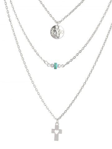 Affordable Hollowed Cross Round Bead Layered Necklace