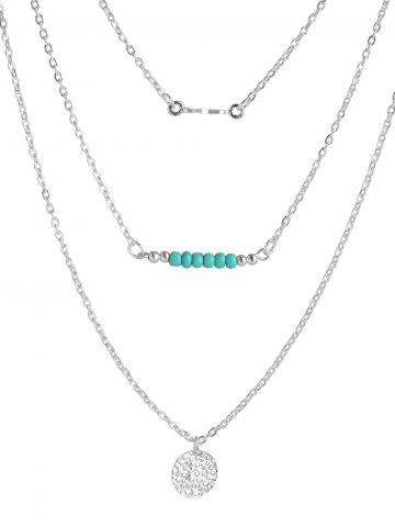 Trendy Beads Coin Bar Layered Necklace
