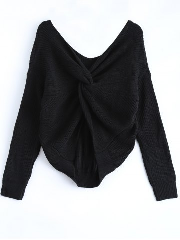 Outfit V Neck Knotted Back Chunky Jumper Sweater BLACK ONE SIZE