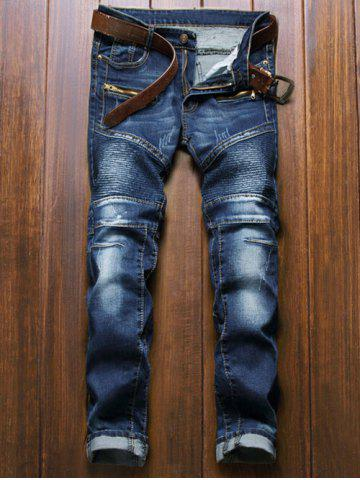 Discount Moto Design Zipper Fly Straight Leg Jeans BLUE 36