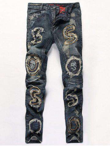 Shop Distressed Stud Embellished Zipper Fly Straight Leg Jeans