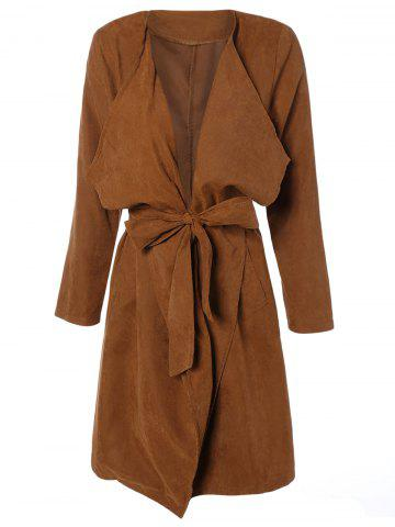 Draped Wrap Coat with Belt - Camel - M