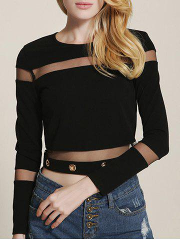 Affordable Mesh Spliced See Through Cropped T-Shirt
