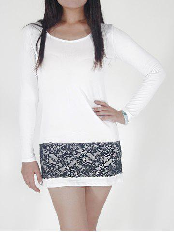Trendy Short Lace Panel Long Sleeve Fitted Dress WHITE M