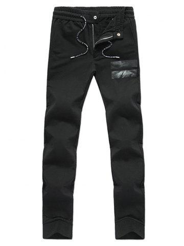 Discount Zip Fly Design Drawstring Waist Pants