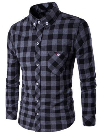 Button-Down Checked Turn-Down Collar Shirt - Black And Grey - M