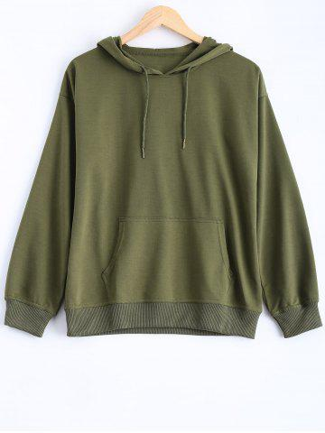 Unique Pocket Design Pullover Hoodie ARMY GREEN L