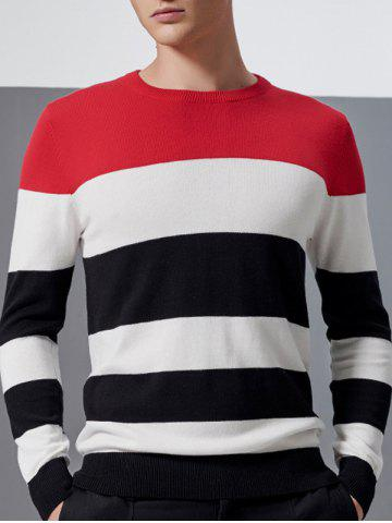 Outfits Color Block Splicing Design Crew Neck Long Sleeve Sweater RED 3XL