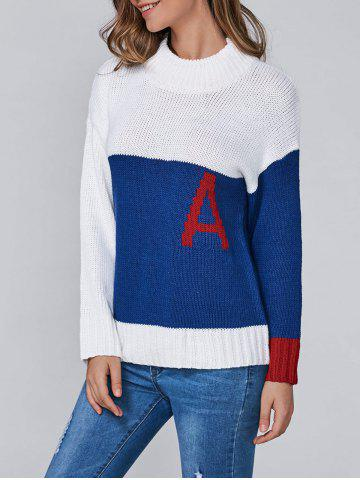 Hot Color Block A Jacquard Pullover Sweater