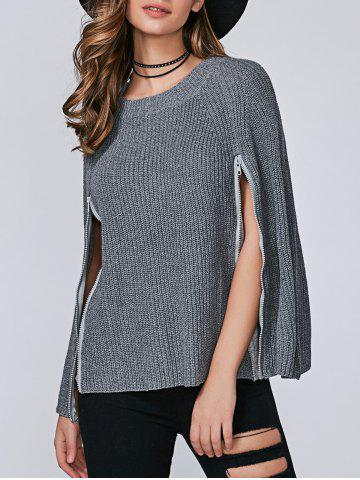 Chic Zipper Pullover Cape Sweater