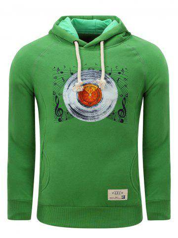 Discount Hooded Gramophone Record Print Thicken Fleece Green Hoodie