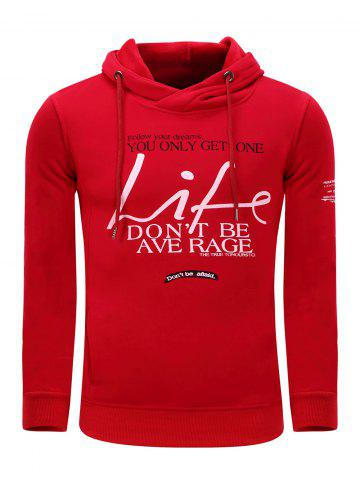 Discount Hooded Graphic Printed Thicken Fleece Hoodie RED L