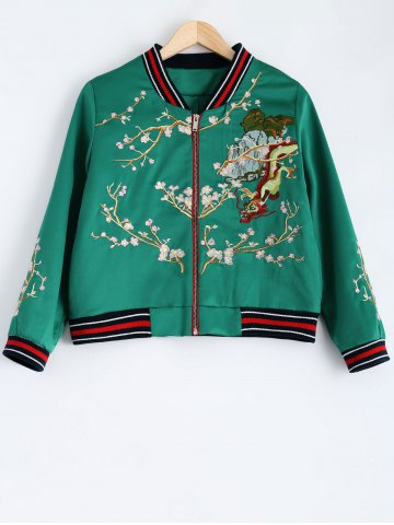 Fancy Dragon Flower Embroidery Souvenir Jacket