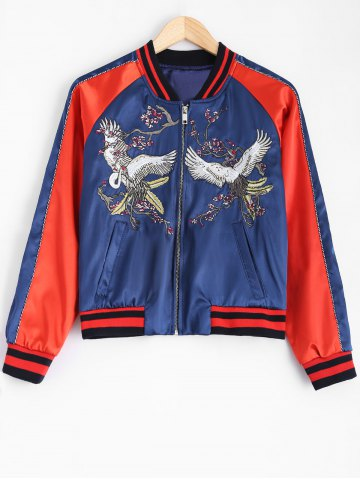 Fashion Raglan Sleeve Crane Embroidery Souvenir Jacket