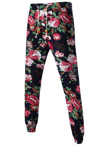 Shop Flower Print Mid-Rise Linen Drawstring Jogger Pants BLACK 3XL