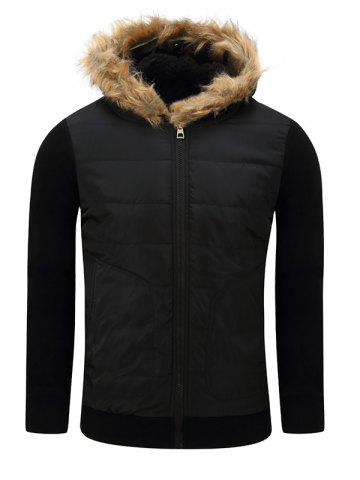 Buy Furry Hood Thicken Zip-Up Cotton Padded Jacket