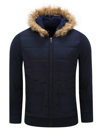 Furry Hood Thicken Zip-Up Cotton Padded Jacket - Sapphire Blue - M