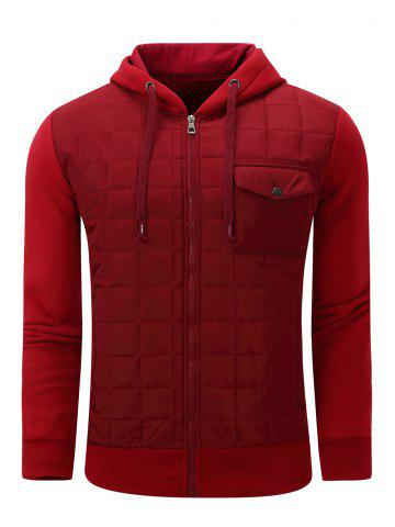 Affordable Hooded Plaid Thicken Zip-Up Cotton-Padded Jacket