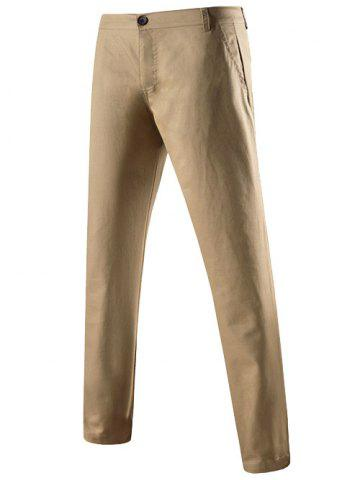 New Mid-Rise Zipper Fly Pocket Back Skinny Chino Pants KHAKI 3XL