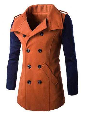 Online Double-Breasted Turn-Down Collar Color Block Splicing Woolen Coat ORANGE 3XL