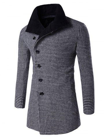 Outfit Single-Breasted Houndstooth Pattern Woolen Coat BLACK 2XL