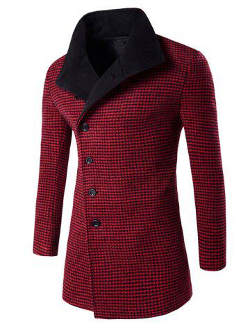 Outfit Single-Breasted Houndstooth Pattern Woolen Coat RED M
