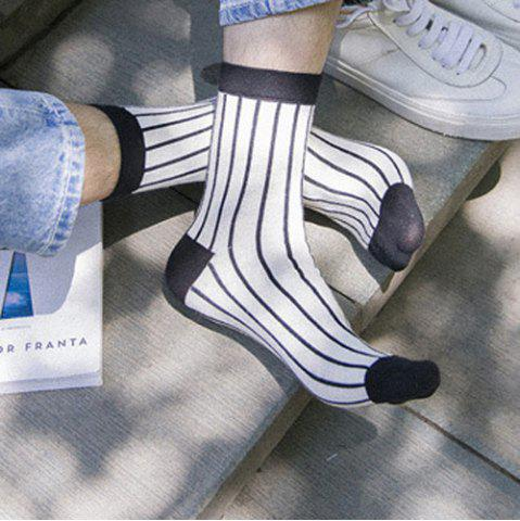 Shop One Set Cross Plaid Vertical Stripes Pattern Socks - WHITE AND BLACK  Mobile