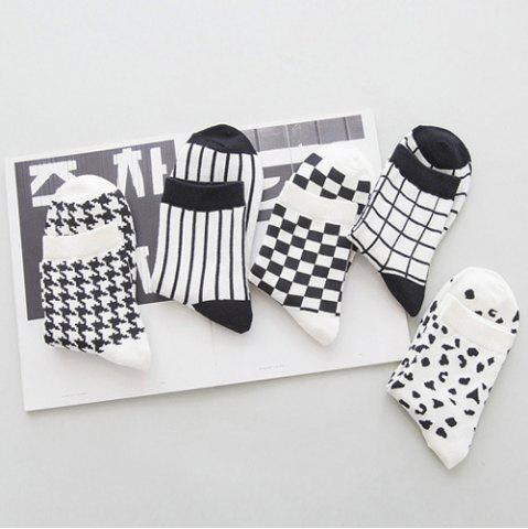 Online One Set Cross Plaid Vertical Stripes Pattern Socks - WHITE AND BLACK  Mobile