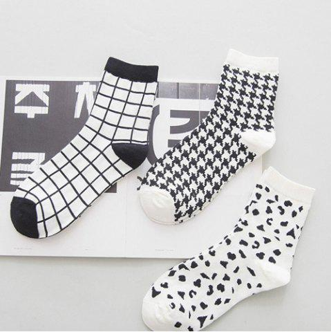 Sale One Set Cross Plaid Vertical Stripes Pattern Socks - WHITE AND BLACK  Mobile