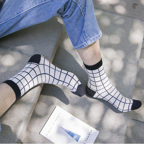 Outfit One Set Cross Plaid Vertical Stripes Pattern Socks - WHITE AND BLACK  Mobile