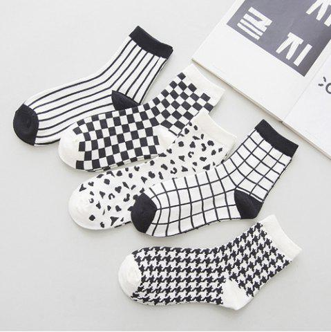 Shops One Set Cross Plaid Vertical Stripes Pattern Socks - WHITE AND BLACK  Mobile