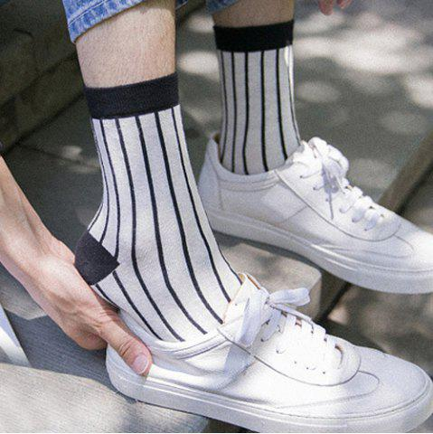 Latest One Set Cross Plaid Vertical Stripes Pattern Socks - WHITE AND BLACK  Mobile