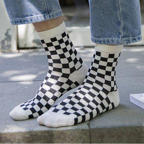 Fashion One Set Cross Plaid Vertical Stripes Pattern Socks - WHITE AND BLACK  Mobile