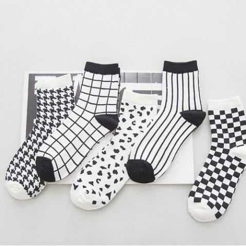 Best One Set Cross Plaid Vertical Stripes Pattern Socks - WHITE AND BLACK  Mobile
