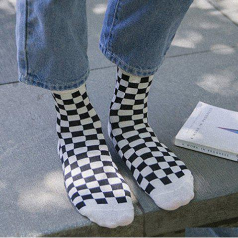 Hot One Set Cross Plaid Vertical Stripes Pattern Socks - WHITE AND BLACK  Mobile